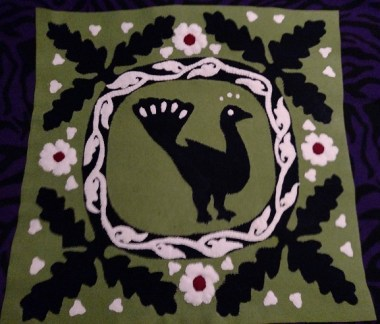 Assembled block with applique, ready for couching