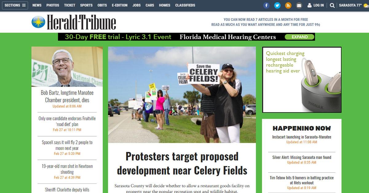Herald Tribune: Protesters target proposed development near Celery Fields