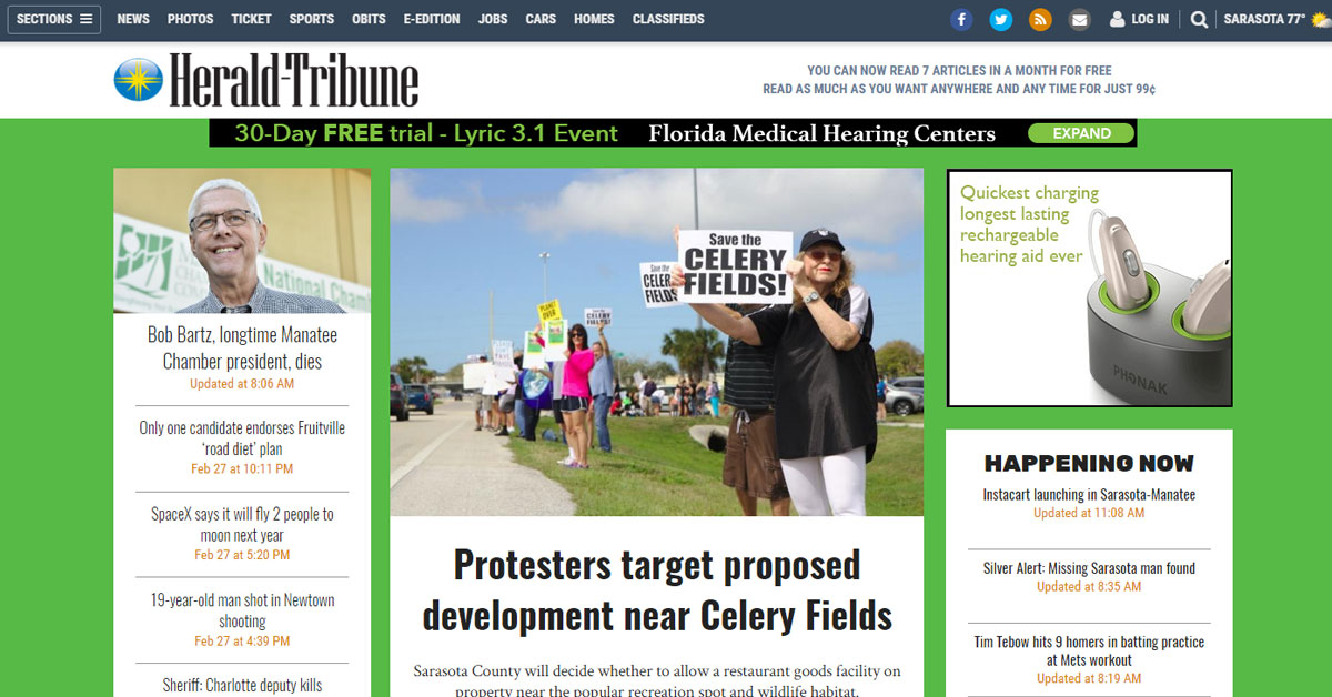 Herald Tribune: Protesters target proposed development near Celery Fields