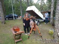 Linda with Jari Kuula's telescope
