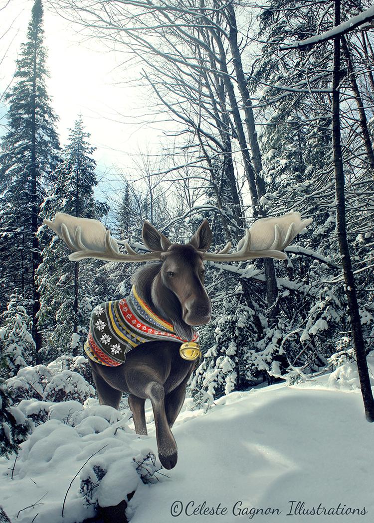 Winter Moose Celeste Gagnon Illustrations