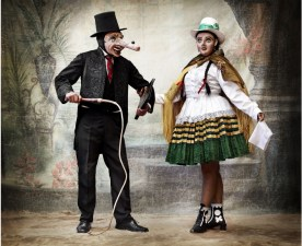 Caporal (dance leader) of the Auqa Chileno dance and his lady. Province of Paucartambo, cusco, peru, 2012