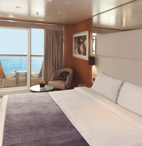 """$1519.00 per person SJA Junior Suites are located on deck 6 and 7. They have a floor area of 21.5sqm (including balcony of 5 sqm) and accommodate up to 2 person(s), with 2 lower beds. Inside this junior suite there is large sliding glass doors leading out to a sea-view balcony, bathroom with a shower, air conditioning, a 40"""" flat-screen HD satellite television, telephone, chilled minibar, hairdryer, safety deposit box and 24/7 room service menu always available."""