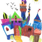 child's crayon drawing of an elaborate castle in bright colors with a sunglasses-wearing sun