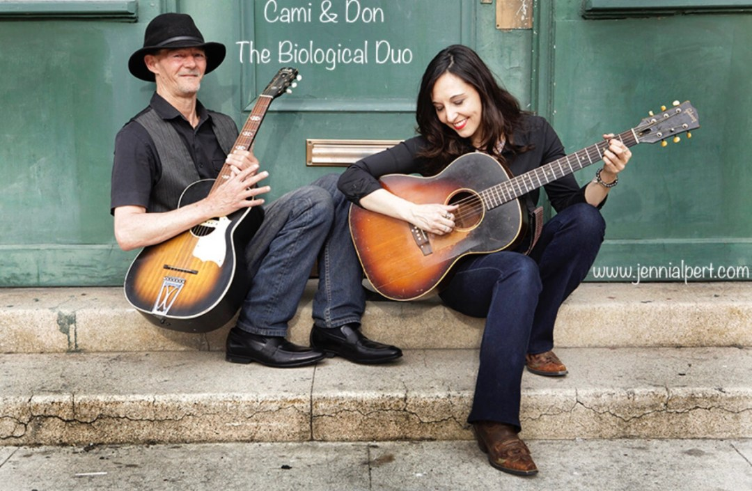 photo of Don Logsdon and Jenni Alpert playing guitars with text Home is Where the Heart Is: A Biiological Reunion Story