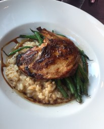 stuffed pheasant with manchego risotto and haricot verts
