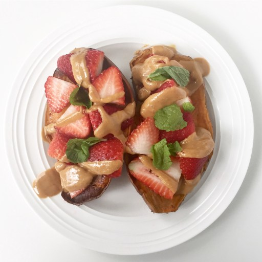 Sweet Potato Sliced Strawberries, Peanut Butter, and Fresh Mint
