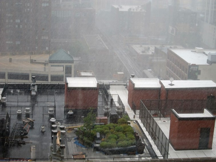 A Chicago rooftop during a cloudburst, © 2013 Celia Her City