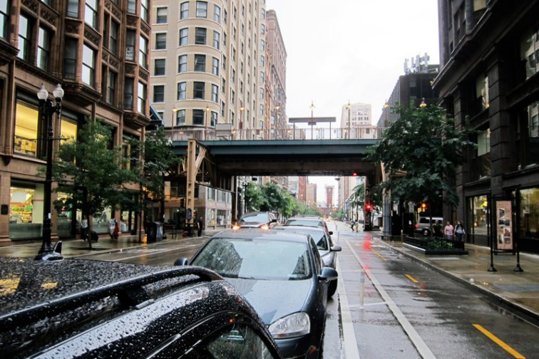 Dearborn bike lane, © 2013 Celia Her City