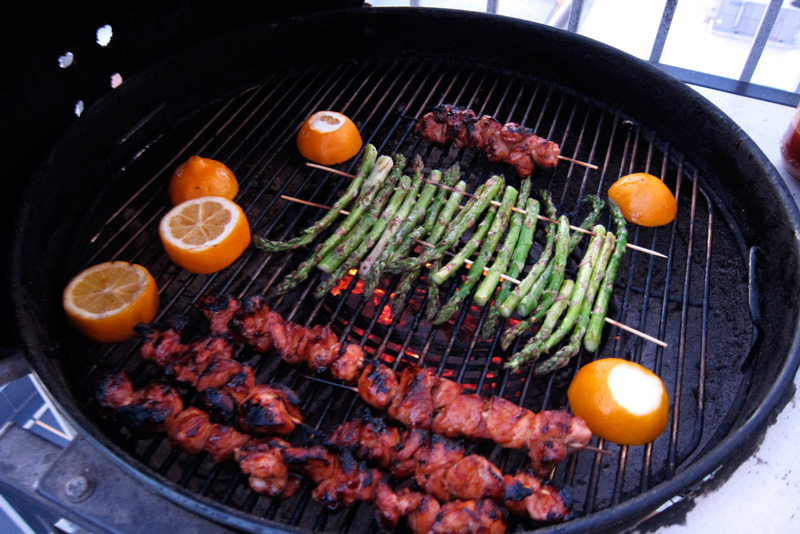 Chicago grill with asparagus, chicken skewers, and meyer lemons, © 2013 Celia Her City