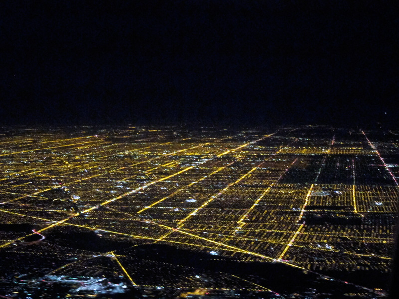 The grid (Chicago from the air at night), © 2013 Celia Her City