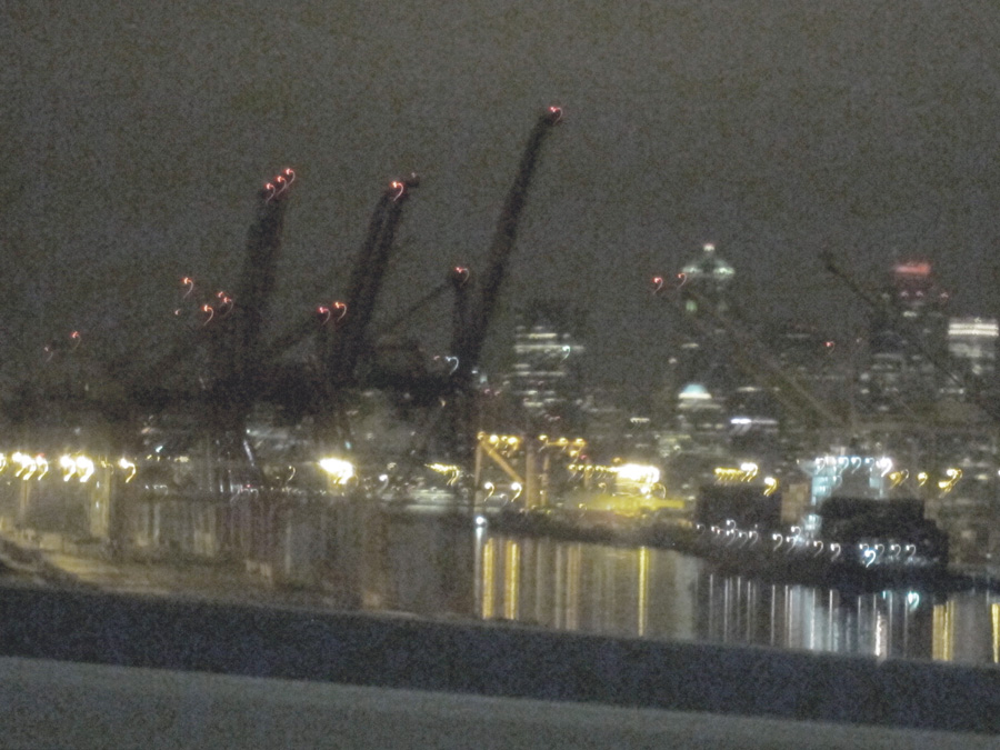Them (Enormous cranes of Seattle Harbor at night), © 2013 Celia Her City