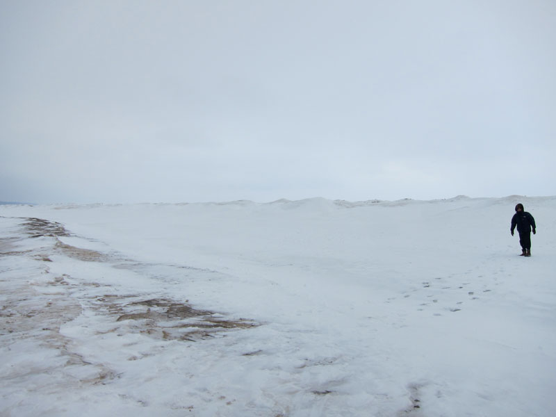 In the trough (Lake Michigan's frozen surface)