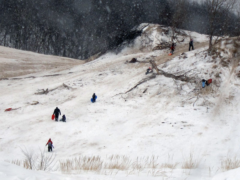 Up the sledding hill