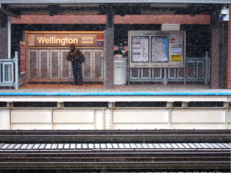 The wait in winter (Chicago commuter waiting for the el)