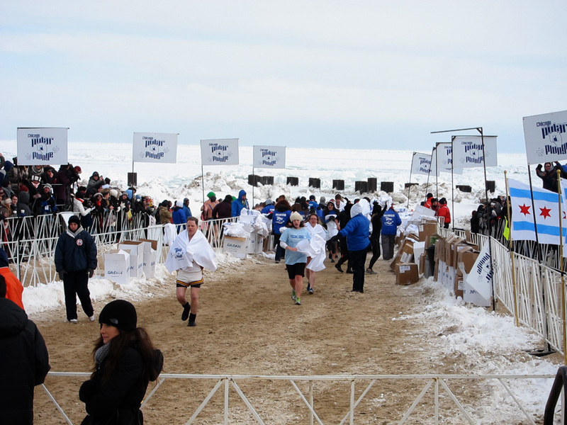 Polar plungers running up out of the water.