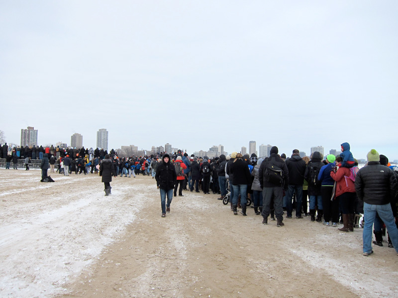Spectators hoping to see the Polar Plunge lined the North Avenue beach