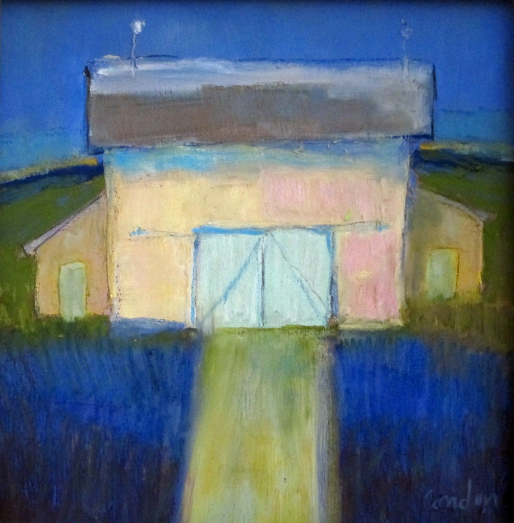 pastel of a barn in the 'blue hour'
