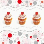 Cupcake bursdagskort for salg til dugnadsjobb. Dugnadskort til dugnad.