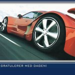 Rød bil bursdagskort penger
