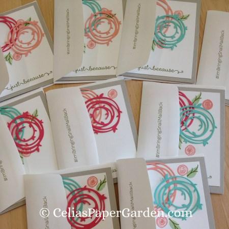 Celia's Paper Garden swirly bird friend card 4 cards in thirty minutes