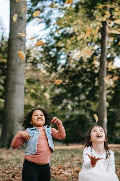 cheerful multiethnic children throwing leaves in countryside