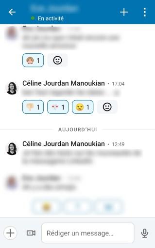 Emoji réaction messagerie LinkedIn