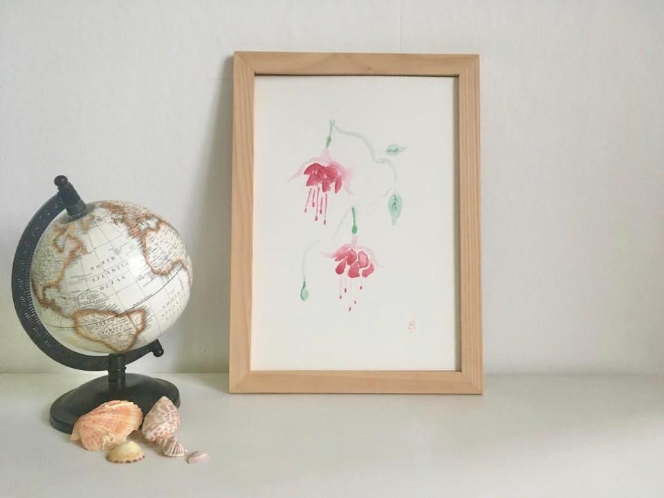 Aquarelle fleurs fuchsia fuchia fushia
