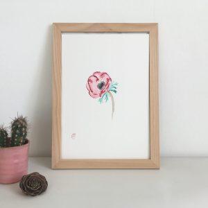 peinture aquarelle fleur anémone