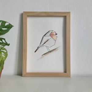 Affiche illustration aquarelle et encre de chine rouge gorge géometrique