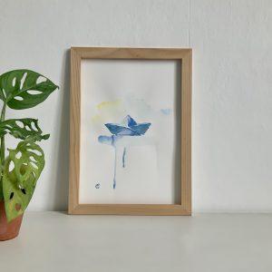 Affiche aquarelle bateau origami