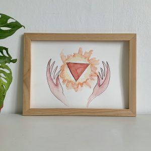 Affiche aquarelle et encre de chine chakra en feu entouré de mains roses