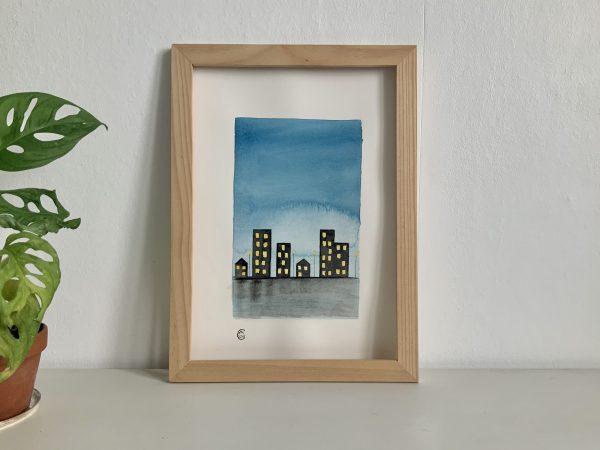 Affiche aquarelle illustration buildings