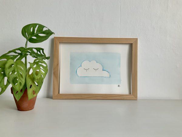 Affiche aquarelle et encre de chine nuage endormi