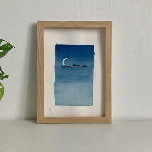 Affiche aquarelle et encre de chine ciel de nuit