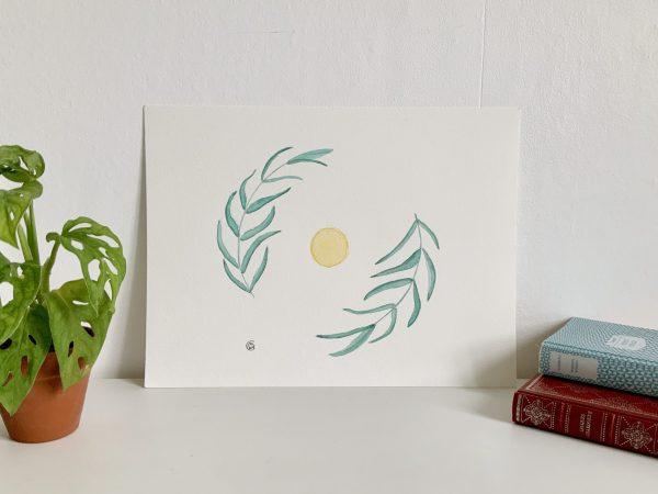 Affiche illustration aquarelle soleil eucalyptus