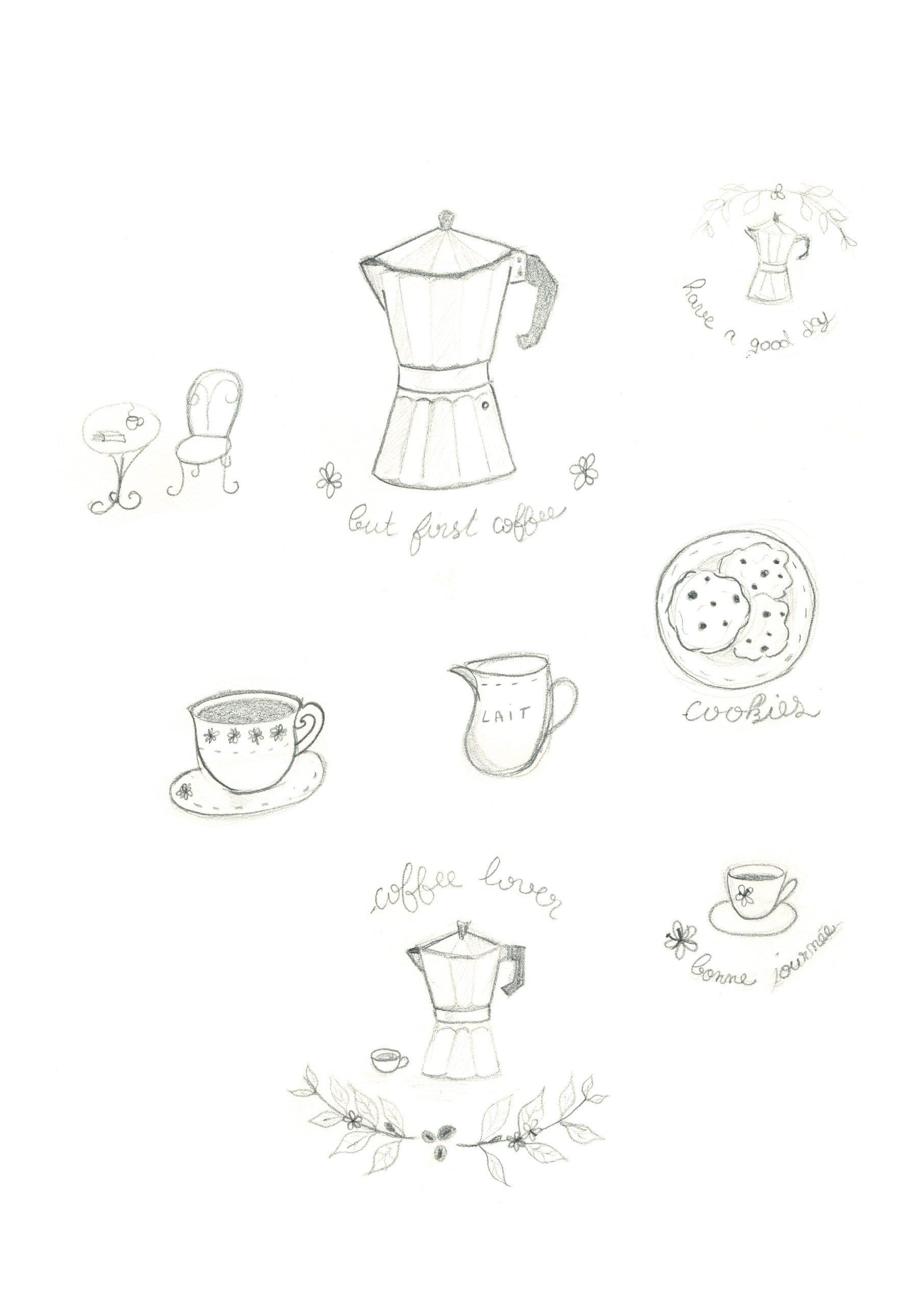 planche de dessins sur le thème du café