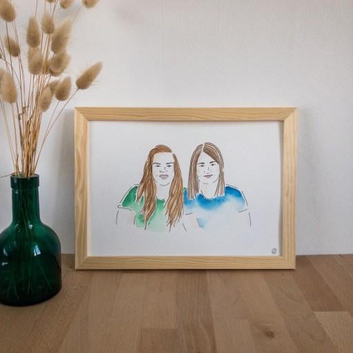 portrait sur mesure aquarelle et encre