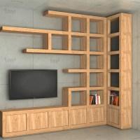 (1364) Regał narożny z miejscem na telewizor