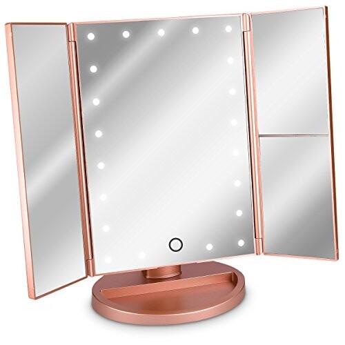 Navaris Miroir Lumineux Led 3 Faces A Poser Miroir Maquillage Triptyque Pliable Sur Pied Avec Effet Grossissant X2 X3 Pile Ou Usb Rose Dore Listy La Wishlist Reinventee