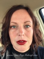 Nothing else on the rest of my face. Jordana Easyliner For Lips in Plush Plum with MAC Russian Red lipstick.