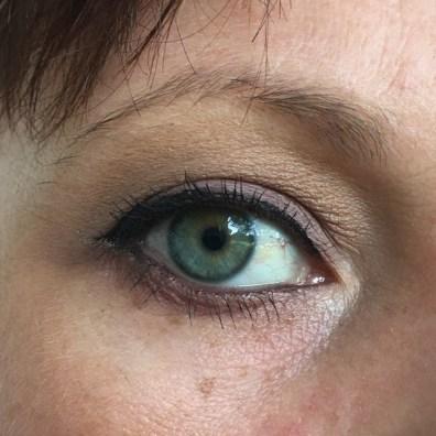 "BASE: MUFE ""Vanilla"". TRANSITION: ""Golden Ochre"". CREASE: ""Warm Taupe"". LID/BLENDING LOWER LASH LINE: ""Buon Fresco"". INNER CORNER: ""Tempera"". TIGHTLINE: Avon. WATERLINE: UD ""Rockstar"". LINER: KVD ink! liner ""Trooper"" + black eyeshadow from a WnW palette + glitter liner from the Wonder Woman set at Walgreens."