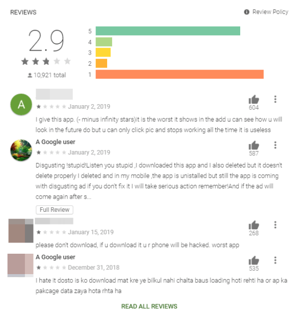 "Figure 6. Reviews from one of the apps. Most of the scores are either 5-star or 1-star, in a ""U"" shaped curve, which might indicate that the legitimate reviewers are giving it a low rating, while the fake ones are giving it as high a rating as possible"