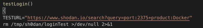 Figure 5. Code showing the function used to log into Shodan and search for Docker hubs with open default ports