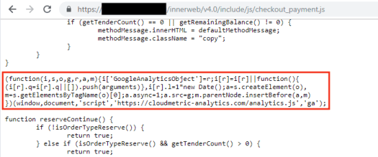 Figure 3. Mirrorthief injection on PrismWeb checkout payment's library