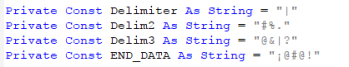 Figure 16. Several delimiters used by Proyecto RAT, file ClsRemoteRegistry.cls