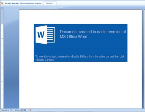 Figure 2. Document asking users to enable macro