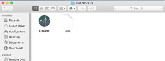 "Figure 2. Content of the zip file. Note that the app bundle is missing the ""o"" at the end, whereas the legitimate app is called Stockfolio."