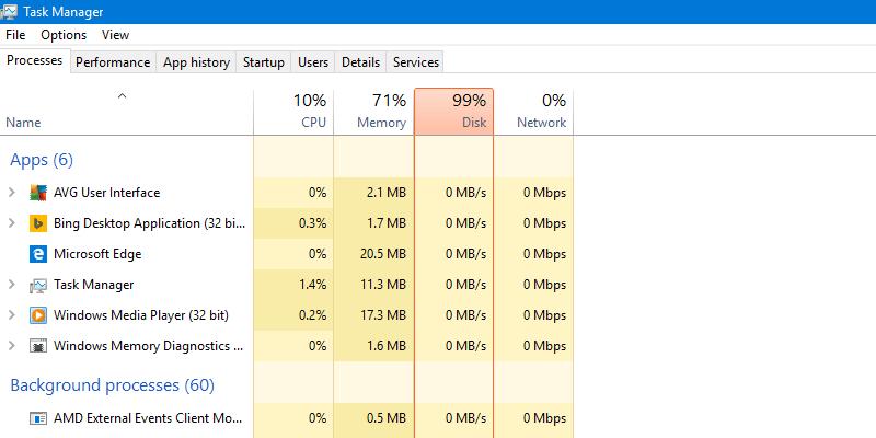 """Sforum - Trang thông tin công nghệ mới nhất task-manager Hướng dẫn khắc phục lỗi """"full disk"""" trên Windows 10, 100% thành công!"""