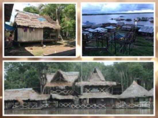 Es un collage de casas de indigenas de la zona amazonica del Peru